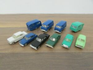 10x Vintage 1960s Triang Minix Plastic Cars, Vans and Caravans 1:87 HO Scale