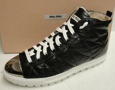 Miu Miu Prada Quilted Leather Cap Toe High-Top Lace Up Sneakers Shoes 41