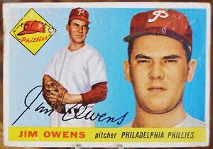 1955 Topps Baseball Card, #202 Jim Owens, Philadelphia Phillies - G