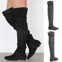 WOMENS LADIES FLAT LOW HEEL RUCHED SLOUCH HIGH OVER THE KNEE THIGH BOOTS SIZE