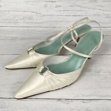 Fifi By Filippa Scott London Ivory Satin Kitten Heel Wedding Occasion Shoes UK 8
