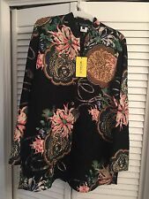 NWT Citron of Santa Monica Heavy Weight Silk Wool Blend Embossed Floral Tunic  M