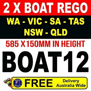 Boat Registration stickers Letters Numbers, 150mm high Boat Rego Marine Vinyl