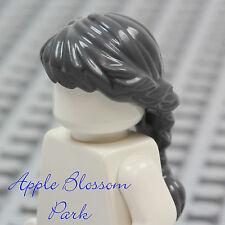 NEW Lego Female Minifig DARK GRAY HAIR - Grandma long Wavy Braided Girl Ponytail