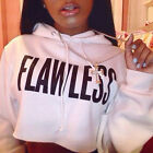 Women Lady Sexy FLAWLESS Crop Hoodie Sweatshirt Jumper Sweater Pullover Tops
