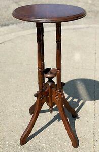 "Antique 30"" Victorian Handmade Round Oak Maple Hardwood Wood Lamp End Table"