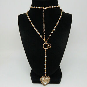 """DESIGNER BETSY JOHNSON PEARL AND BOWS GLASS HEART Y-DROP 32"""" NECKLACE"""