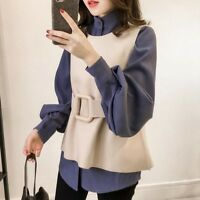 Women Lady Autumn Winter Korean Sweet Doll Collar Color Matching Head Loose New