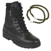 PATROL COMBAT BOOTS BLACK 50/50 LEATHER TACTICAL MILITARY WITH TROUSER TWISTS