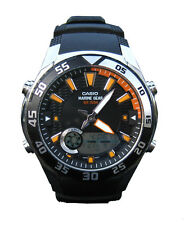 Casio Men's Marine Gear Tide Graph 10-Year Battery Black Resin Watch AMW710-1AV