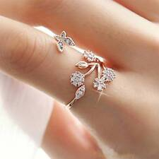 Women Fashion Open Size Butterfly Trees Ring Crystal Wedding Engagement Rings