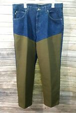 Mens L.L. Bean Double L Natural Fit Jeans With Hunter Green Nylon Overlay, Sz 38