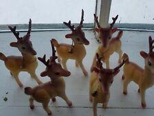 6 Vintage Reindeer Figures Plastic Hong Kong Christmas Deer Bells Sleigh Team