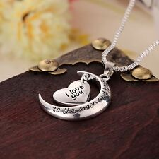 Gift Silver Pendant Chain Heart Shape Necklace I Love You To The Moon And Back