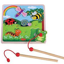 Angelspiel Setzpuzzle Tiere Holz Magnet Puzzle Holzpuzzle mit 2 Angeln ab 1 Jahr