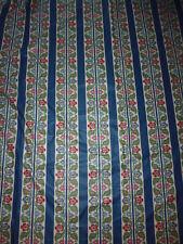 ancien tissu textile ameublement coton imprimé bleu rayure fleur année 90