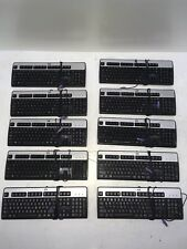 LOT OF 10 HP KB-0316 Wired PS/2 Keyboards Black & Silver 104-Key