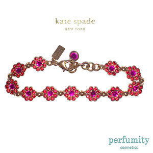 Kate Spade Gold Plated Luxurious Flower Simulated Ruby Bracelet NEW AUTHENTIC