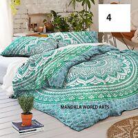 Mandala World Arts Elephant Peacock Cotton single kdouble duvet cover quilt togd