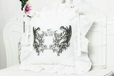 ENGEL Shabby Chic 42x42 StuhlKissen Bezug Volant 4 Seiten bedruckt Weiß Landhaus