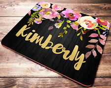 Personalized Mouse Pad Floral Drop Custom Name Desk Accessories for Women