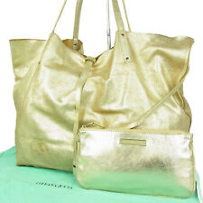 Auth Tiffany & Co. Reversible Glitter Leather Tote Shoulder Bag Gold F/S 719