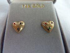 14K Yellow Gold Valentine Love Heart Stud Post Earrings