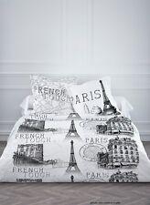 Housse de couette en coton 260X240 cm+2 taies d'oreiller PARIS TOUR EIFFEL CITY