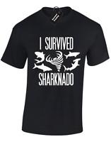 I SURVIVED SHARKNADO MENS T SHIRT FUNNY RETRO FILM DESIGN CLASSIC TOP S - 5XL