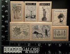 HERO ARTS RUBBER STAMPS LOT 7 VINTAGE POSTAGE OFFICE BAMBOO LUXE TRAVEL #2655