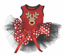Puppy Clothes Dog Dress Christmas Reindeer Deer Red Dot with Rhinestone Bow