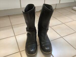 Clarks Artisan Black Leather  Moto  Mid Calf Boots Women's Sz 8.5