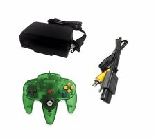AC Adapter + Jungle Green Controller + AV Cable Cord  Bundle for Nintendo 64 N64
