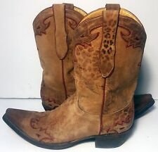 Old Gringo Leopard Brown Leather Western Cowgirl Cowboy Boots Women's Size 9.5