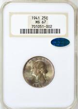 1941 P NGC + CAC MS67 Pop 207/10 Registry Quality Washington Quarter Toned Gem