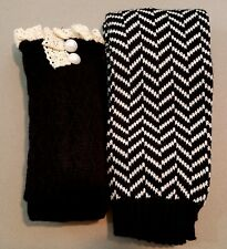 2 PAIR LOT Women BOOT SOCKS & Leg Warmer SET = 2 PAIR LOT