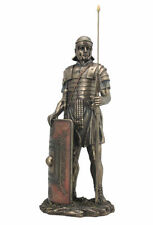 """Roman Soldier with Javelin And Shield Statue Sculpture Figurine 14"""" Tall - NEW"""