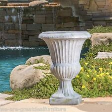 "22"" Tall Antique Decor Aged White Stone Outdoor Garden Urn Planter / Flowers Pot"