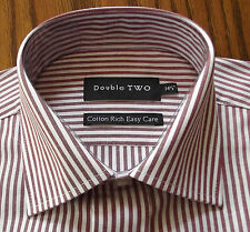 Mens red and white striped shirt DOUBLE TWO Cufflink or button 14.5 NEW burgundy