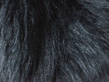 Coupon / bande de tissu FAUSSE FOURRURE NOIRE poils longs 170 X 18 cm