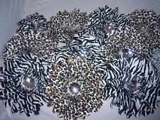 WHOLESALE LOT 12 leopard ZEBRA FLOWER daisy CRAFT bridal HAIR basket BOUQUET