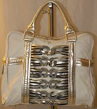 Katherine Kwei Silver Beiges Tote Hand Bag Leather Hobo Large Travel Women Lady