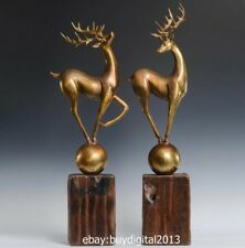 82 CM West Art Deco Animal Bronze Wood Reindeer mi-lu Deer Elk Wapiti Sculpture