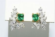 $15,000 3.22CT NATURAL COLOMBIAN EMERALD & DIAMOND FEATHER EARRINGS 18K/950 PLAT