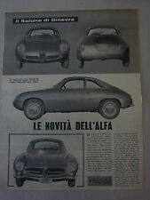 ARTICOLO ALFA ROMEO GIULIETTA SS ZAGATO  --  1960