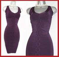 KAREN MILLEN Purple Thick Stretch Knitted Halterneck Cocktail Dress KM 3 UK 12