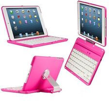 360 Swivel Wireless Bluetooth Keyboard for iPad Mini 3 2 1 With Back Case Pink