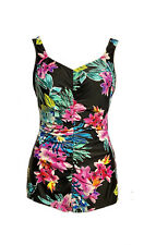 Maxine of Hollywood Floral Colorful Ruched One Piece Swimsuit Womens Size 14 EUC