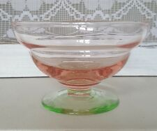Vintage Depression Watermelon Pink and Green Uranium Glass Sherbet Dish Bowl
