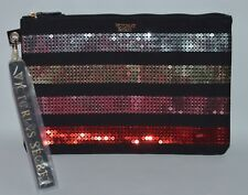 VICTORIA'S SECRET BLACK SEQUIN STRIPE POUCH BEAUTY BAG COSMETIC ORGANIZER CLUTCH
